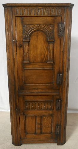 Antique Tudor Style Carved Oak Double Corner Cupboard
